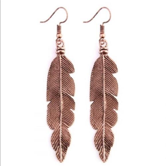 Jewelry - Bronze Feather Earrings